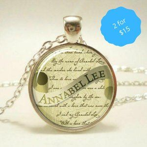 2/$15 Poe Annabelle Glass Pendant Necklace Goth